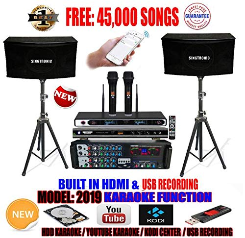 SINGTRONIC COMPLETE 1000W PROFESSIONAL KARAOKE SYSTEM PACKAGE SPECIAL W/ 45,000 SONGS MODEL: 2019 BUILT IN USB RECORDING & BLUETOOTH FUNCTION WITH OPTICAL & COAX