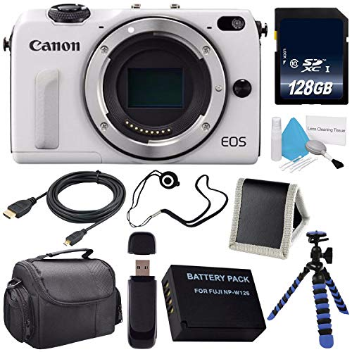 Canon EOS M3 Mark III 24.2 Mp Mirrorless Camera (International Model) (White) + LP-E17 Replacement Lithium Ion Battery + 128GB SDXC Class 10 Memory Card Bundle