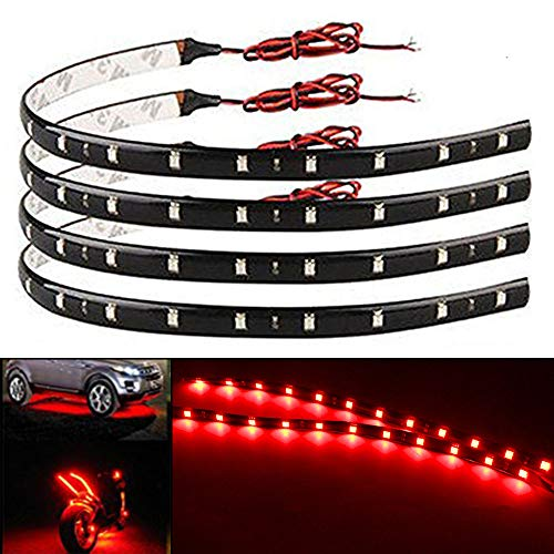 EverBright 4-Pack Red 30CM 5050 12-SMD DC 12V Flexible LED Strip Light Waterproof Car Motorcycles Decoration Light Interior Exterior Bulbs Vehicle DRL Day Running with built-in 3M Tape ()