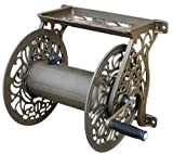 Liberty Garden Products 704 Decorative Cast Aluminum Wall Mount Garden Hose Reel, Holds 125-Feet of 5/8-Inch Hose - Bronze (Lawn & Patio)