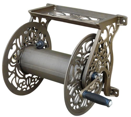 Liberty Garden Products 704 Decorative Cast Aluminum Wall Mount Garden Hose Reel, Holds 125-Feet of 5/8-Inch Hose - Bronze - Hose Reel Mounting
