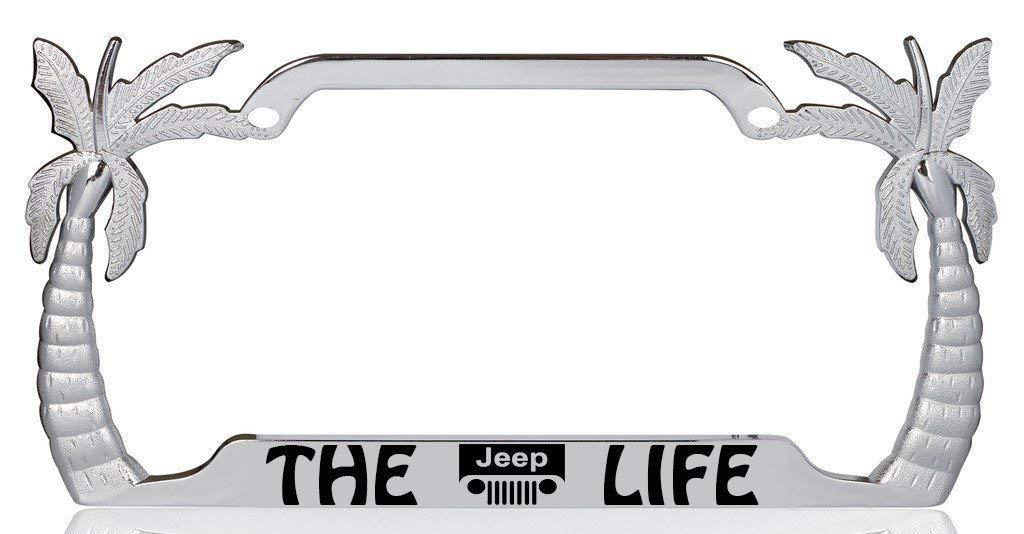The Jeep Life Palm Tree Design Chrome Metal Auto License Plate Frame Car Tag Holder