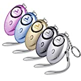 Deeram 5 Pack 150 DB Emergency Personal Alarm Self-Defense Security Alarm Keychain with Bright LED Light Perfect for Women,Kids and Elders, 5 Colors