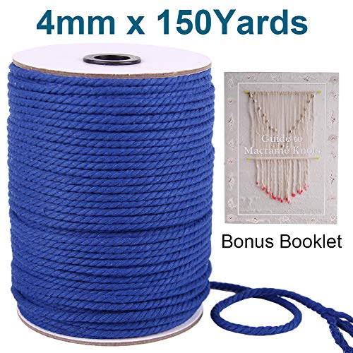 (XKDOUS Blue Natural Twisted Cotton Rope 4mm, Colored Navy Macrame Cord, 1/6