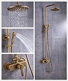 Sccot Shower Faucet Set, Vintage Luxury Brass Shower System Include Rainfall Shower Head, Handheld Shower and Tub Spout Faucet, Rain Shower Mixer Set Antique Brass Finished