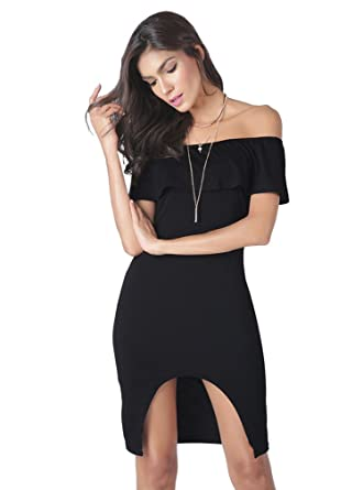 58d156f6ba ACVIP Women Summer Off Shoulder Backless Ruffle Style One Piece Midi Dress ( China S