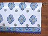 Saffron Marigold Casablanca ~ Moroccan Style Inspired White Blue Print Valance 46×17 Review