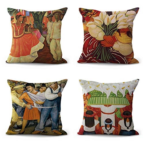 (WholesaleSarong Set of 4 Diego Rivera Art Painting Cushion Covers Living Room Pillow case Unique Home Decor )
