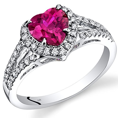 14K White Gold Created Ruby Diamond Halo Ring Heart Shape 1.90 Carats Total
