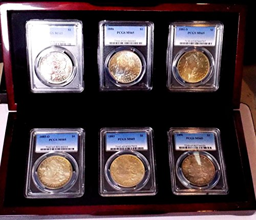 Morgan Silver Dollar Monster Rainbow Set of 6 PCGS MS 65+++++ Colorful WOW COIN (Rainbow Set Coin)