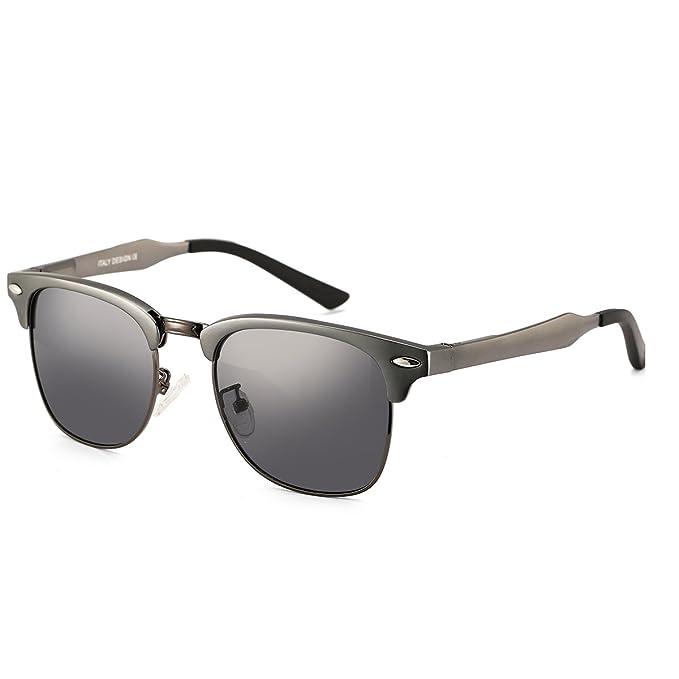 dcec5898f3 Dollger Classic Clubmaster Polarized Sunglasses Horn Rimmed Half Frame(Black  Lens+Gun Frame )