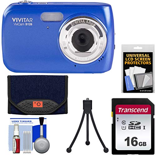 Vivicam Blue Vivitar (Vivitar ViviCam S126 Digital Camera (Blue) with 8GB Card + Case + Mini Tripod + Kit)