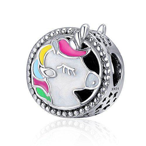 LeeFeel Unicorn Animal Beads Charm 925 Sterling Silver Multicolor Enamel Round Charms Fit Charm Bracelet & Choker Necklace