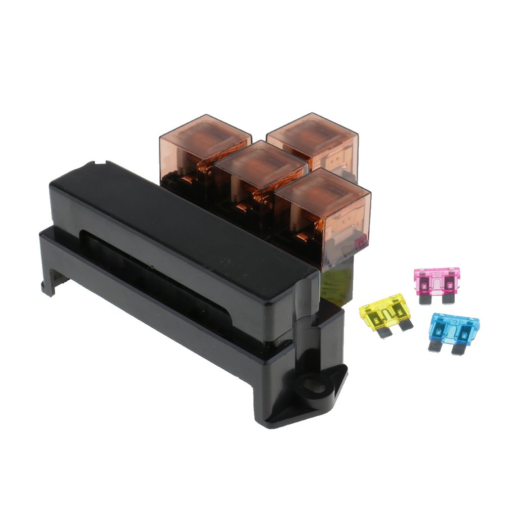 Magideal Automotive 10 Fuses 4 Relay Box Holder Over Ls1 Fuse Pins Load Protection