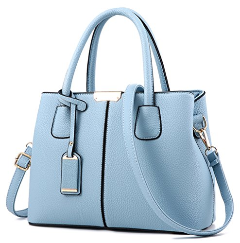 Covelin Women's Top-handle Cross Body Handbag Middle Size Purse Durable Leather Tote Bag Light - Purse Blue