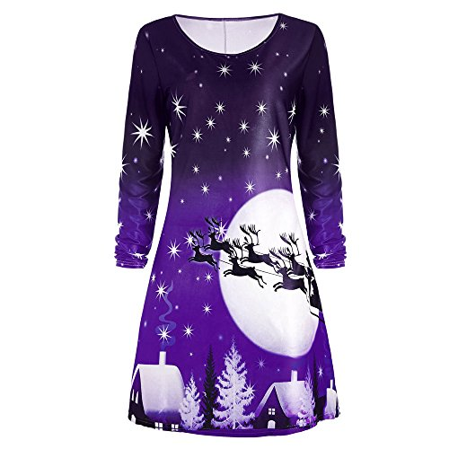 Clearance! Christmas Women's Party Dress Casual Long Sleeve Flare A Line Tunic Loose T-Shirt Dresses -