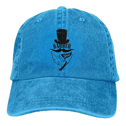 DEFFWB Hat Barber Shave Denim Skull Cap Cowboy Cowgirl Sport Hats for Men Women