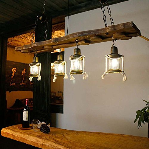 al Hemp Rope 4 Head Light Iron Chandelier Hand Carved Retro Loft Chandelier Living Room Restaurant Cafe E27 Chain Length Adjustable (Bulbs Not Included) (Hand Carved Wood Chandelier Light)