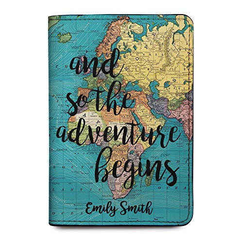 World Map Personalized Leather Passport Holder Cover - Customized Travel Gift