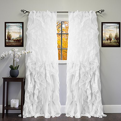 - Sweet Home Collection Sheer Voile Vertical Ruffled Window Curtain Panel 50