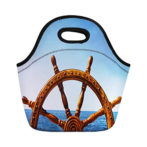 Semtomn Lunch Tote Bag Blue Boat Old Vintage Wooden Helm Wheel Brown Captain Reusable Neoprene Insulated Thermal Outdoor Picnic Lunchbox for Men Women
