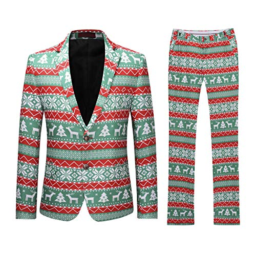 De Pantalon Noël Homme Smoking Mariage 2 Party Costume Pcs Veste Vert xSqt1Inw