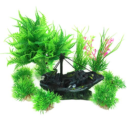 Pietypet Fish Tank Decorations Plants with Rockery View, 9pcs Green Aquarium Plants Plastic and Aquarium Boat Cave Resin Fish Tank Ornament Decoration