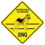 Norwegian Elkhound Xing caution Crossing Sign dog Gift