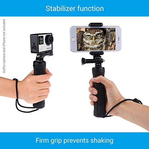 CamKix Replacement Stabilizing Hand Grip Compatible with GoPro Hero with Dual Mount, Tripod Adapter and Universal Phone Holder - Record Videos with 2 Different Camera Angles Simultaneously by CamKix (Image #4)