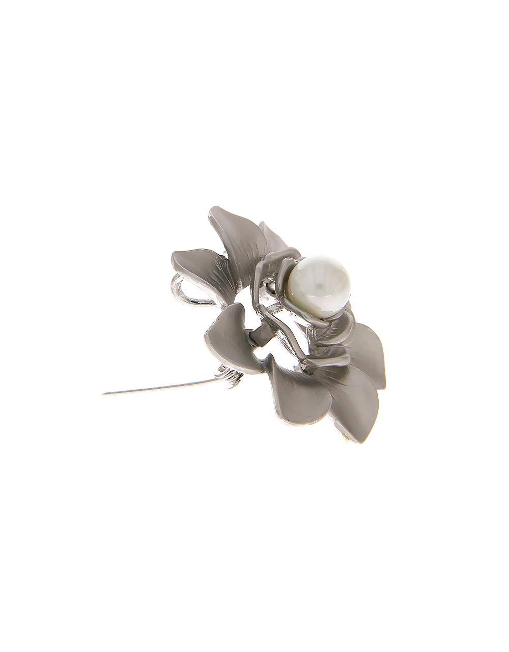 Anuradha Art Silver Colour Flower Styled Designer Trendy Brooch for Women/Men by Anuradha Art (Image #3)