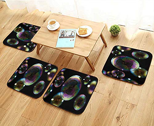 Bubble Chair Club (Jiahonghome Universal Chair Cushions Many Party soap Bubbles Isolated on Black Extremely Detailed Personalized Durable W15.5 x L15.5/4PCS Set)