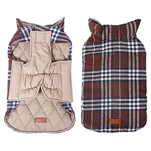 (Kimfoxes Pet Dog Jacket Vest Windproof Garment Waterproof Snowproof Clothing Waistcoat Winter Warm Clothes Reversible British Style Grid Plaid Dog Coat for Medium Large Dogs(Brown 2XL))