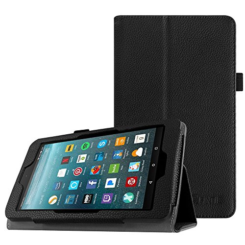 7 Folio Tablet (Fintie Folio Case for All-New Amazon Fire 7 Tablet (7th Generation, 2017 Release) - Slim Fit PU Leather Standing Protective Cover Auto Wake / Sleep, Compatible with Fire 7 (5th Gen, 2015), Black)