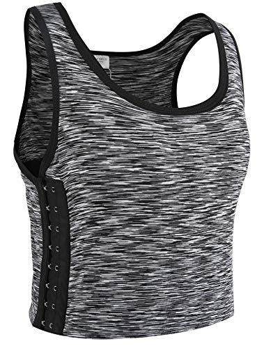 XUJI Lesbian Sex Elastic Band Cotton Underwear Chest Binder Tank Top-XL Light Grey (Chest Xl Size)