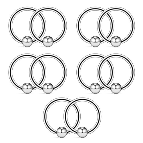 Ruifan 10PCS 316L Surgical Steel Captive Bead Rings Nose Belly Eyebrow Tragus Lip Ear Nipple Hoop Ring BCR 16G 10MM (Ring 10 Mm Captive)