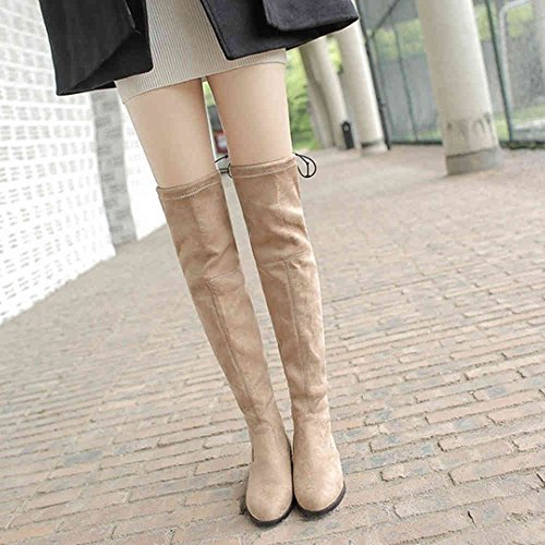 Materail And Large Women Over the Flat Sjjh Match Boots knee All Nubuck With Beige Size 08Adw