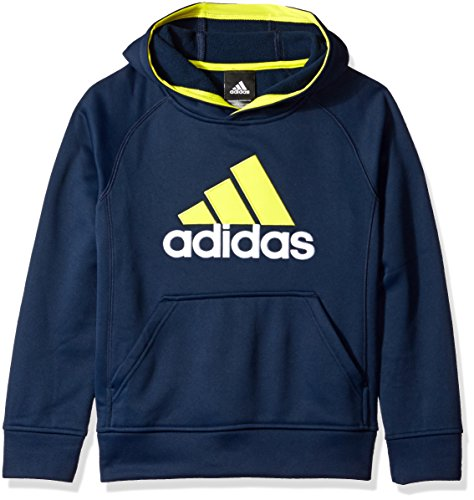 adidas Big Boys' Po Tech Fleece Hoodie, Collegiate Navy/Shock Slime, Small/8