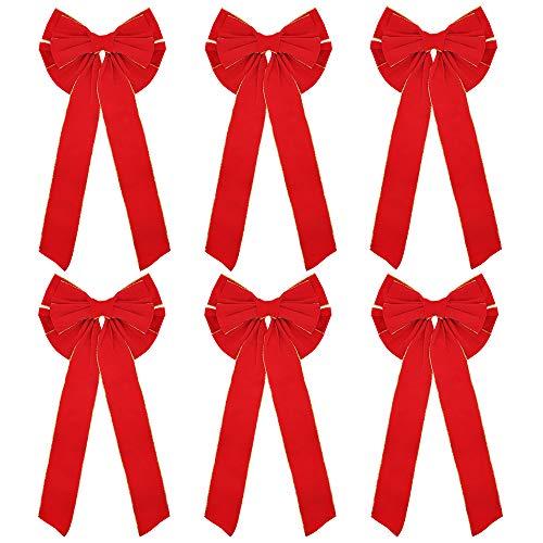 Joiedomi 6 Pack Premium Red Velvet Bows, 28