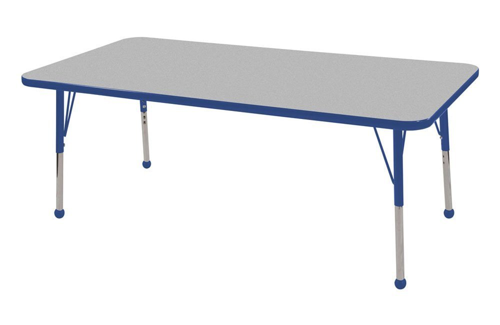 ECR4Kids T-Mold 24'' x 60'' Rectangular Activity School Table, Toddler Legs w/ Ball Glides, Adjustable Height 15-23 inch (Grey/Blue)