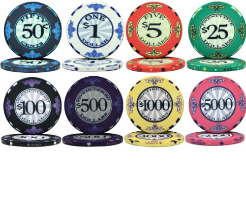 Scroll Design Ceramic 10gm Poker Chips - 8 Chip Sample (Ceramic Poker Chip)