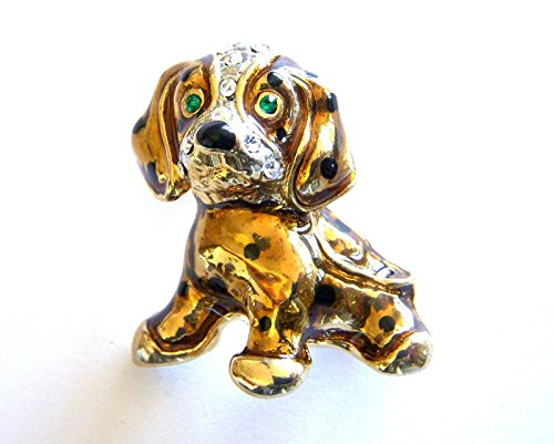 Puppy Dog Brooch Scarf Clips Corsage Jewelry for Woman Yellow Gold Plated Pin Crystal Costume Jewelry Christmas (Puppy Love Bride Dog Costumes)