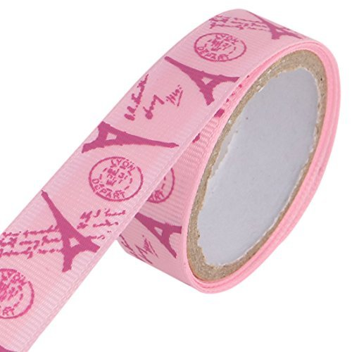 DealMux Eiffel Tower Pattern Scrapbooking DIY Crafting Decorative Sticky Tape Roll Pink