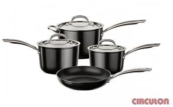 Circulon Ultimum - Juego de cacerolas (4 piezas, aluminio forjado y acero inoxidable)