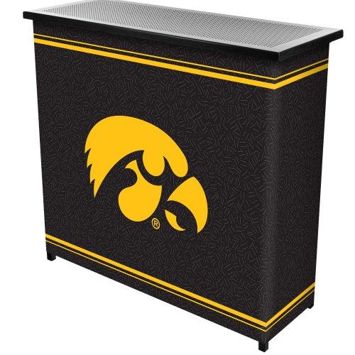 NCAA University of Iowa Two Shelf Portable Bar with Case by Trademark Gameroom