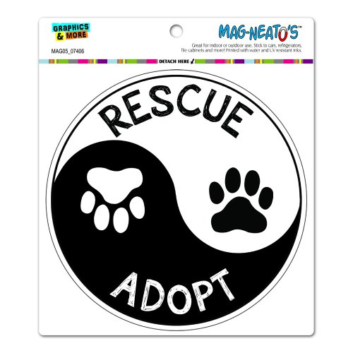Rescue Adopt Yin Yang - Paw Prints Animals Dogs Cats Circle MAG-NEATO'S™ Automotive Car Refrigerator Locker Vinyl Magnet
