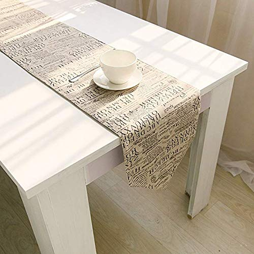 Arflee Shabby Chic Monogrammed Letters Words Home Doily Linen Table Runner - Cotton Canvas Fabric Wedding Hotel Dinning Table Top Decoration (12'' W x 72'' H)