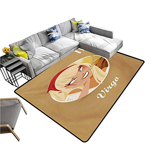 - Indoor/Outdoor Rubber Mat Zodiac Virgo,Cheerful Teenage Cartoon Girl with Biting an Ear of Wheat Happiness Nature,Multicolor 80