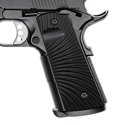 Cool Hand 1911 Grips, Magwell Cut, Full Size(Government/Commander), Sunburst Texture,G10, Ambi Safety Cut Black