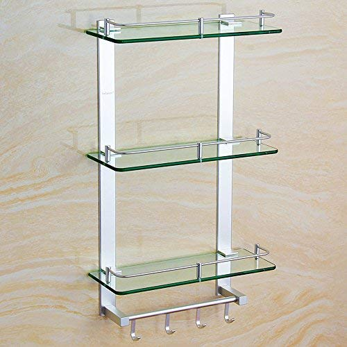 5058cm BAIF Bathroom Rack ZHIRONG Space Aluminum Glass 3 Layers Wall Hanging Shelf Multifunction with Hook Combination Rack Six Size (Size   50  58cm)