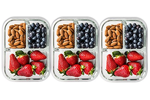 3 pack glass meal prep containers 3 compartment food storage container set with airtight. Black Bedroom Furniture Sets. Home Design Ideas